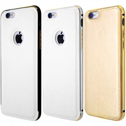 Чехол на iPhone 6/6S  с кожаной накладкой и гравировкой
