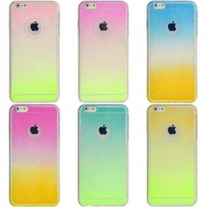 Силикон 0.5 mm блестки градиент iPhone 6/6s
