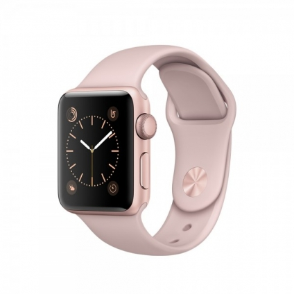 Apple Watch Series 1 38 mm Rose Gold Aluminum Case with Pink Sand Sport Band (MNNH2)