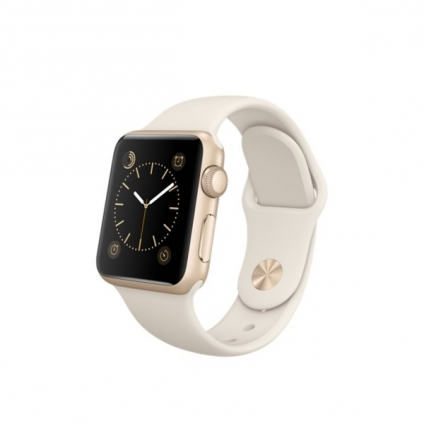 Apple Watch Sport 38mm Gold Aluminum Case with Antique White Sport Band (MLCJ2)