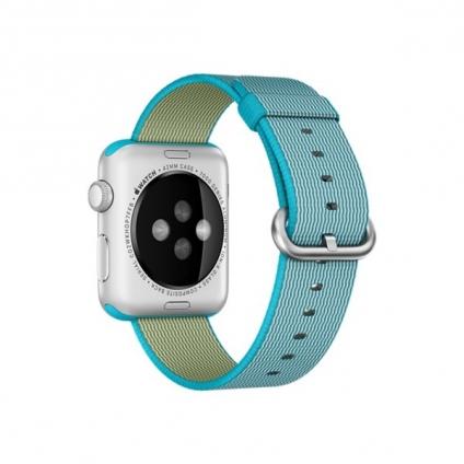 Apple Watch Sport 42mm Silver Aluminum Case with Scuba Blue Woven Nylon (MMFN2)