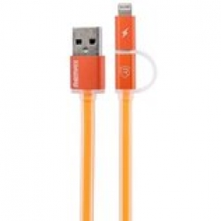 Кабель и адаптер Remax USB Cable to Lightning/microUSB Cable Aurora 1m Orange