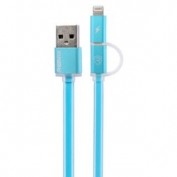 Кабель и адаптер Remax USB Cable to Lightning/microUSB Cable Aurora 1m Blue